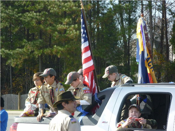 boy scouts at small town parade